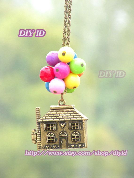 Up Necklace, Beadwork Necklace ,colorful balloons necklace,bead balloon necklace,,Flying House,Flying Dreams,Up Movie Necklace,locket