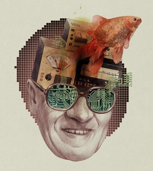 cool collage Illustration • by Dmitry Ligay via Cruzine