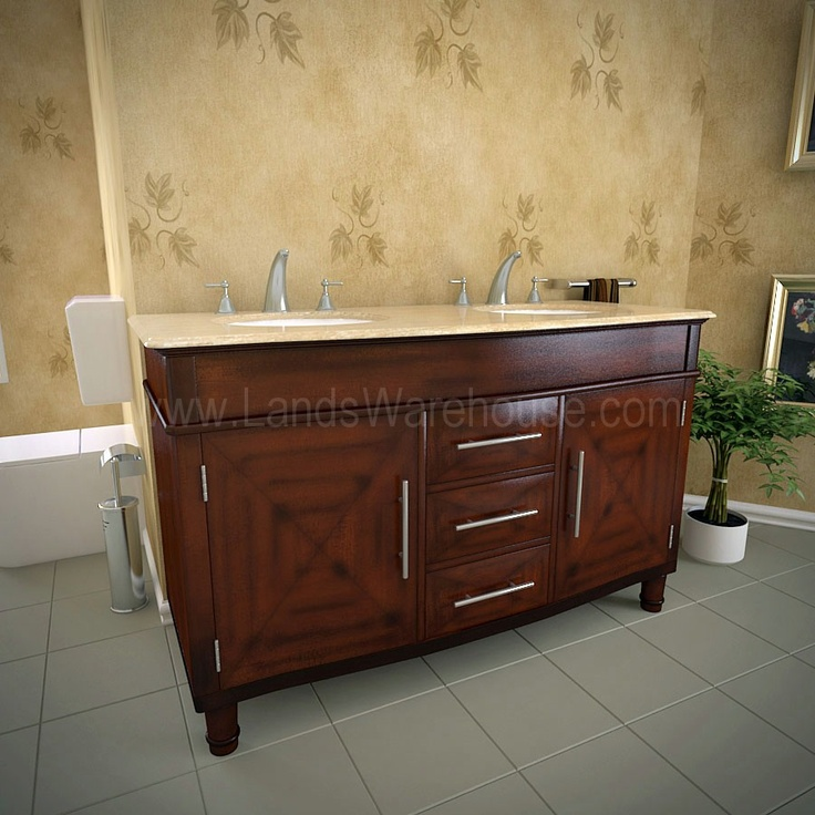 Silk Road Exclusive Traditional Double Sink Bathroom Vanity HYP-0222-55 by SilkRoad  Exclusive