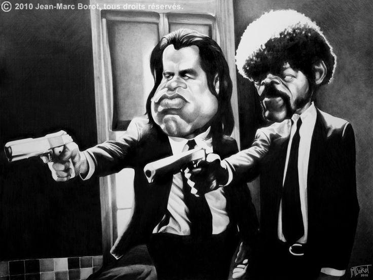 """Samuel Jackson y John Travolta. Pulp Fiction es una película estadounidense del año 1994 dirigida por Quentin Tarantino, en latino América """"Tiempos Violentos"""""""
