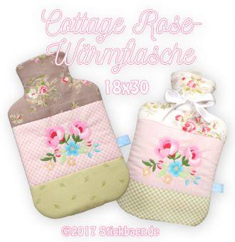 Cottage Rose Wärmflasche 18x30                 Mit dieser Stickdatei stickt Ihr einen wunderschönen mit Rosen bestickten Bezug für Eure Wärmflasche. Mit einer so hübsch bezogenen Wärmflasche wird das Bauchweh gleich besser und kalte Füße sofort wieder warm. Für alle Wärmflaschen mit 1 Liter Fassungsvermögen geeignet. Größe der Wärmflasche maximal 15,5 x 26,5cm. Die Datei wird ausschließlich und komplett in der Stickmaschine gearbeitet. Bis auf das Schließen einer kleinen…