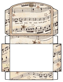 Free printable boxes - vintage music sheets