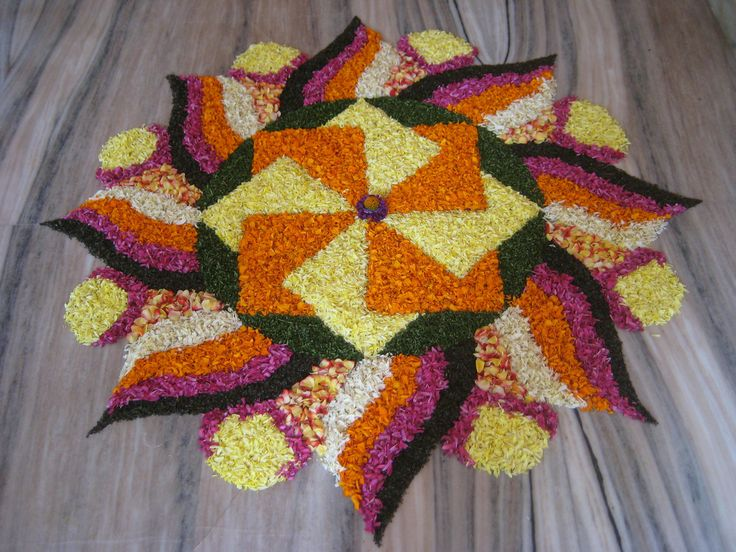 68 Best Flower Rangoli Images On Pinterest Flower Rangoli Flower Decorations And Mandalas