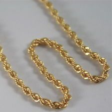 SOLID 18K YELLOW GOLD CHAIN NECKLACE, BRAID ROPE MESH 23.62 IN. MADE IN ITALY