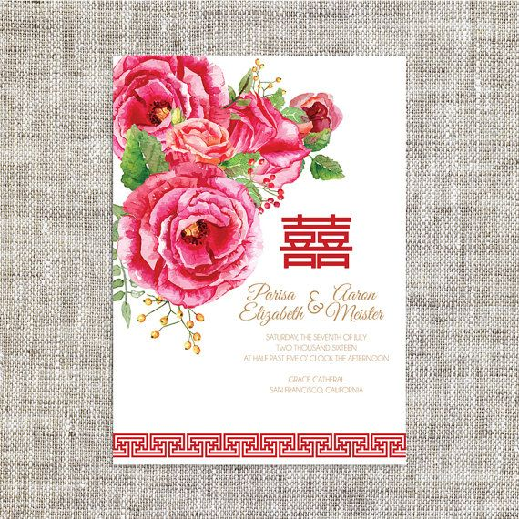 DIY Printable / Editable Chinese Wedding Invitation Card Template Instant Download_Red Shades Peonies Traditional 婚禮喜帖 喜喜Double Happiness