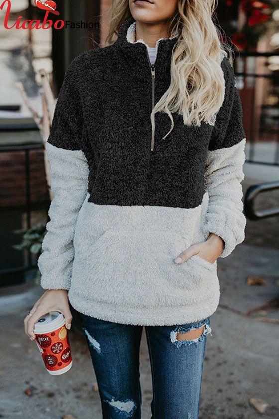 18aa023237 Women Winter Fluffy Fur Warm Hoodies Jumper Outwear Half-Zip Coat ...