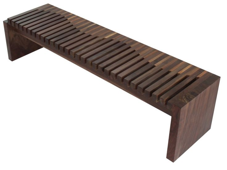 Walnut and Tamburil Wood Contemporary Bench