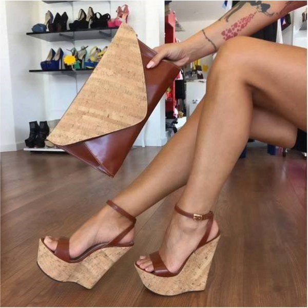 Women Platform Wedge High Heel Peep Toe Sandals Ankle Strap Hollow Out Espadrilles Sandal Wedding Pump Dress Shoes