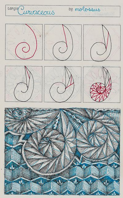This was drawn in one of Geneviève Crabe's Tangle Organizers.  You can find out more at her blog.   The other pattern I used in the example is CZT Sadelle Wiltshire's Bandola.  Tip: You may find that as you hit the curves, you lose track of which way your line should go. You may have less problems if you focus on one section at a time. You are drawing triangles-2 smaller triangles inside a larger one.  Focus on the section your are one--draw the large triangle, and bisect it so you have…