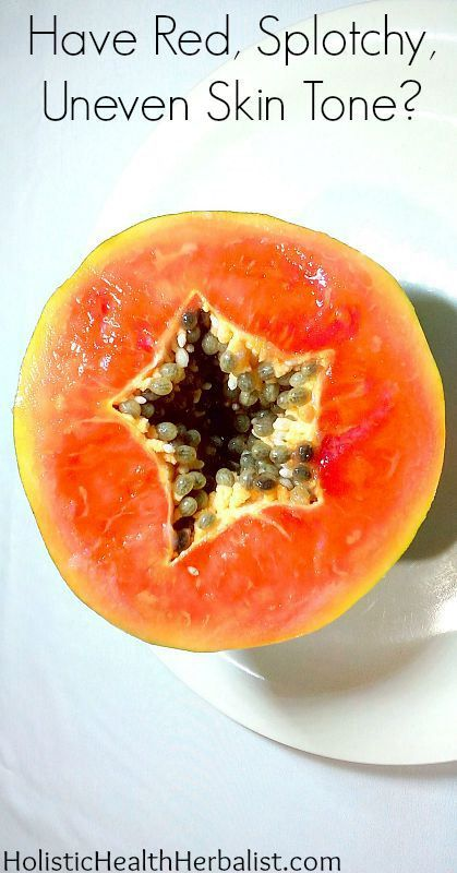 Are Papaya Enzymes the Answer to Banishing Red, Splotchy, Uneven Skin Tone?- Learn how to use papaya to get clear pores, smooth skin, and reduced redness! #papayamask #papayapowder