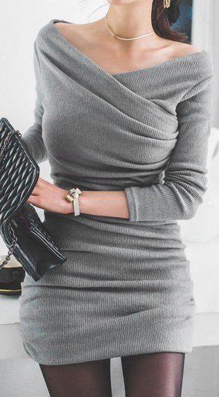 Stylish Ruched Sweater Dress ==