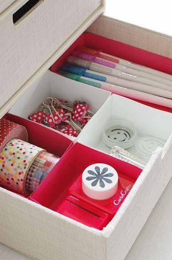 『★これもアリ!100円色画用紙・折り紙箱で引き出し収納♪』