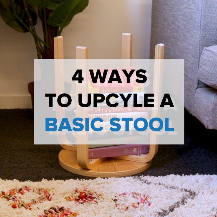 4 Ways To Upcycle a Basic Stool // #upgrade #stool #upcycle #DIY