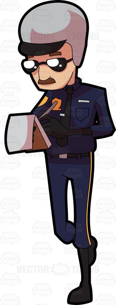 A traffic police issuing a ticket #cartoon #clipart #vector #vectortoons #stockimage #stockart #art
