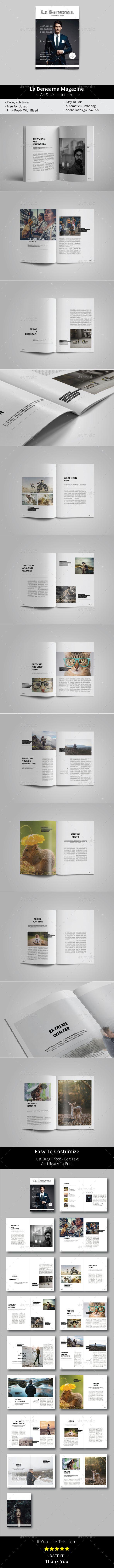 La Beneama Magazine  — InDesign Template #online magazines #magazine cover template • Download ➝ https://graphicriver.net/item/la-beneama-magazine/18135514?ref=pxcr