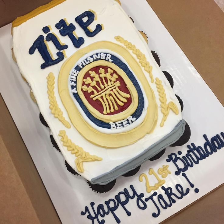 21st birthday Miller lite can cupcake cake! #millerlitecake #smallcakes #cupcakesdaily #cupcakestag - creativecakesbybre