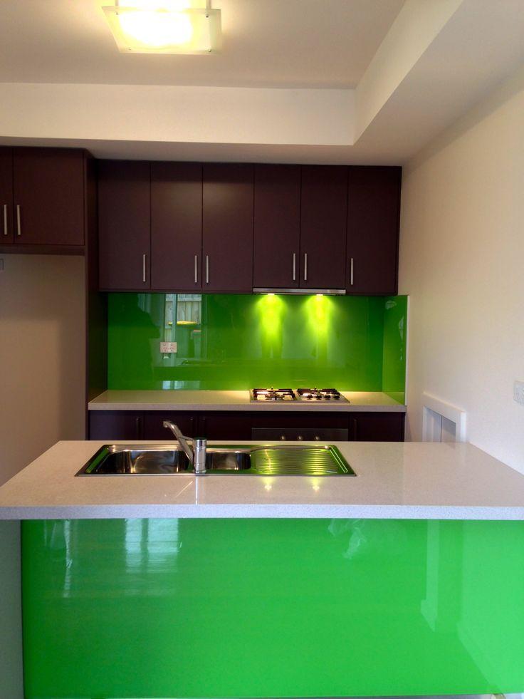 Green metallic glass splashback