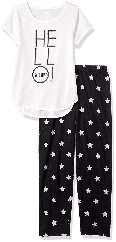 06b5bb714 Crazy 8 Girls' Big Short Sleeve Curve Hem Flame Resistant Pajama Set, Bed  Hair Don't Care,