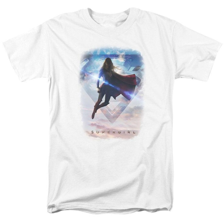 Supergirl Tv Series Endless Sky White Adult T-Shirt from Warner Bros.: This shirt features Supergirl flying and… #Movies #Films #DVD Video