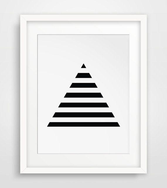 Stripe Art, Minimalist Prints, Geometric Print Art, Triangles, Black Geometric, Minimalist Print Art, Black and White Stripes, Pyramid Art