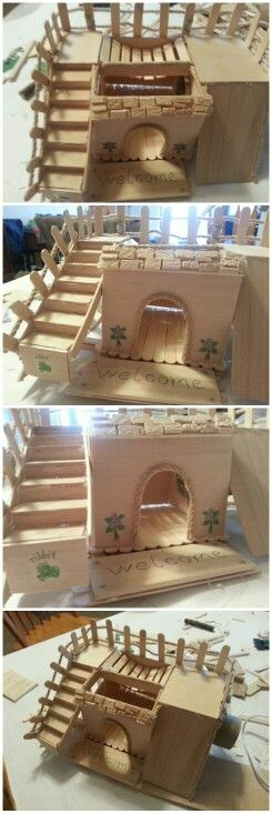 DIY drawf hamster house.. made with only 3 materials plus hot glue.  Popsicle sticks,  craft wood and rope