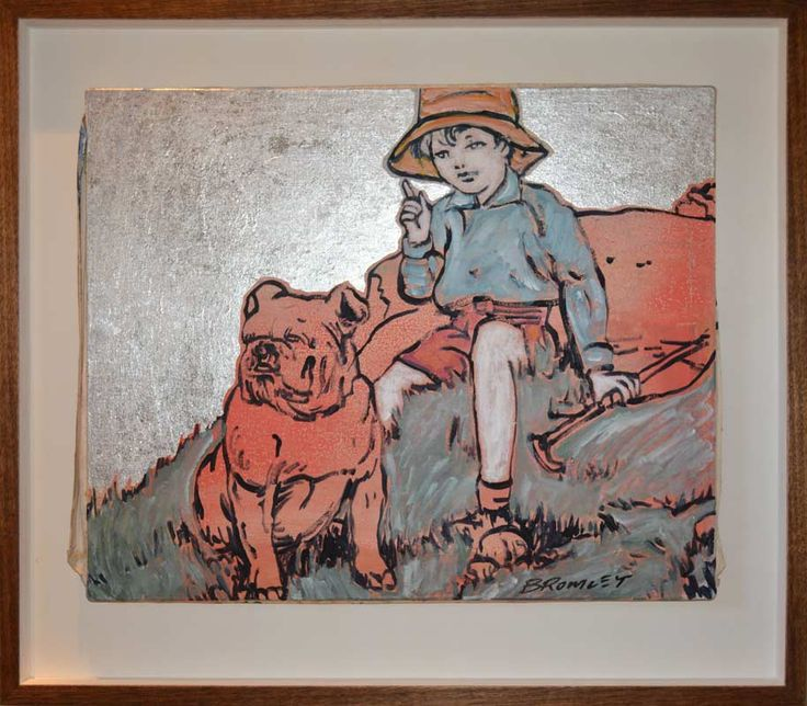 David Bromley - Painting - Silver Leaf - Dog & Child