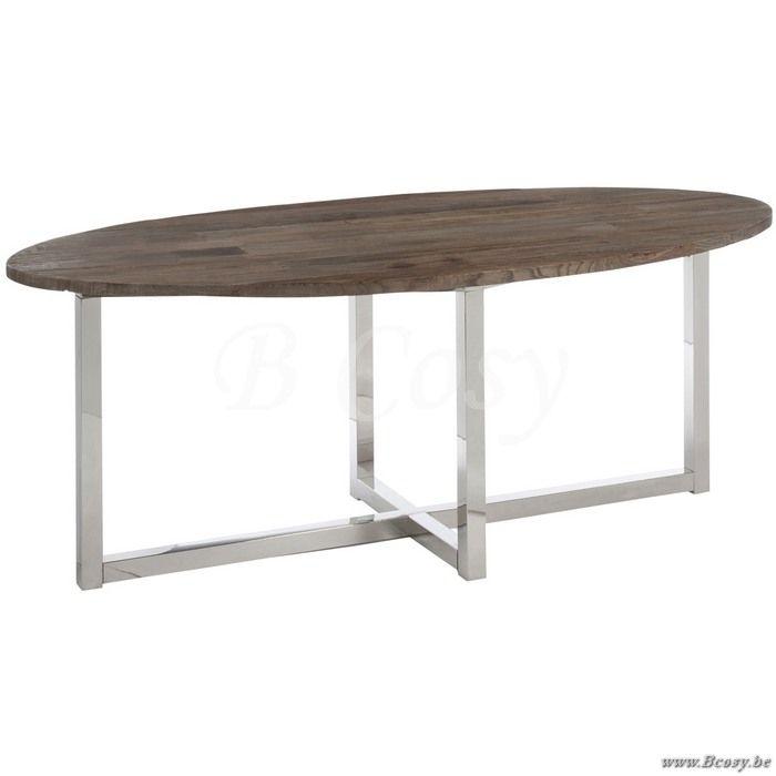 J-Line Ovalen eettafel in hout en inox bruin 200 - Tafels - BCosy Webshop Boutique Web Vente en Ligne