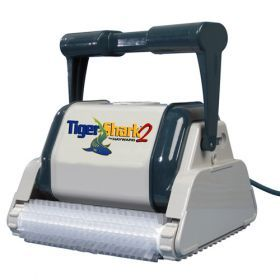 TigerShark2 Commercial Robotic Pool Cleaner - The most advanced automatic, portable pool cleaner in the industry.  This cleaner has a preset 7-hour cleaning cycle. It calculates the size of your pool with it's on-board computers and programs itself for the most efficient cleaning pattern - TigerShark® 2 even shuts off at the end of the cleaning cycle.