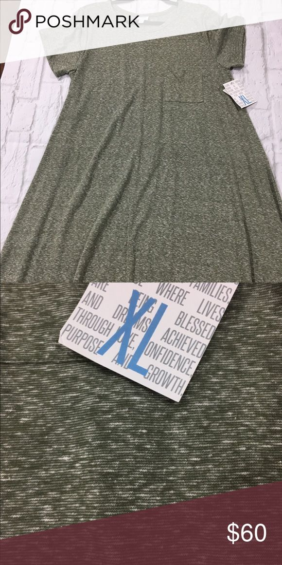 LuLaRoe Carly Heather moss green tshirt fabric LuLaRoe Dresses High Low