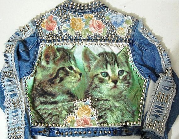 Studded Denim Jacket Vintage 90s CATS Kittens by cruxandcrow