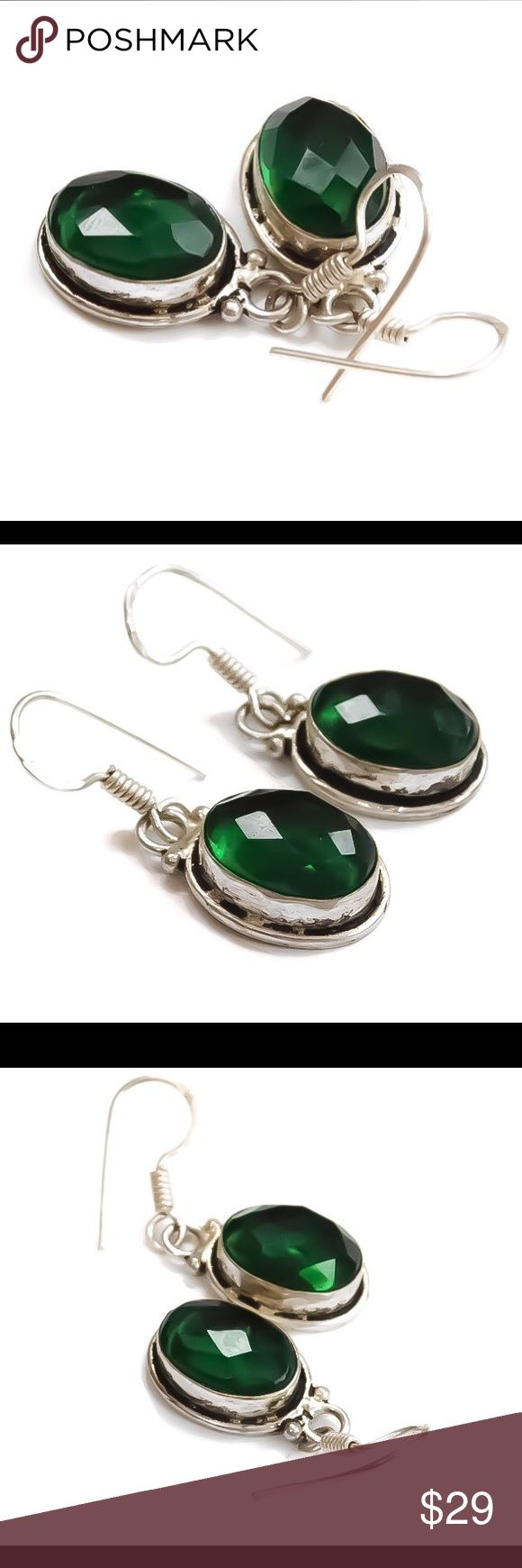EMERALD Drop 925 Silver Earrings A gorgeous green pair of genuine emerald gemstone drop earrings. The emeralds rest in solid 925 sterling silver bezel settings and are suspended from 925 sterling silver fish hook/shepards hook ear wires. Posh rules only. No trades, no PayPal, no lowball offers; please & thank you. Serious buyers only. nejd Jewelry Earrings