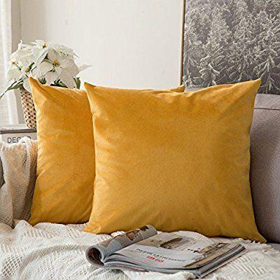 Juego de 2 miulee terciopelo Soft Solid decorativa cuadrado Juego Fundas de almohada de lanzamiento Cojín Caso para sofá dormitorio Auto 18 * 18 pulgadas 45 * 45 cm: Amazon.es: Hogar