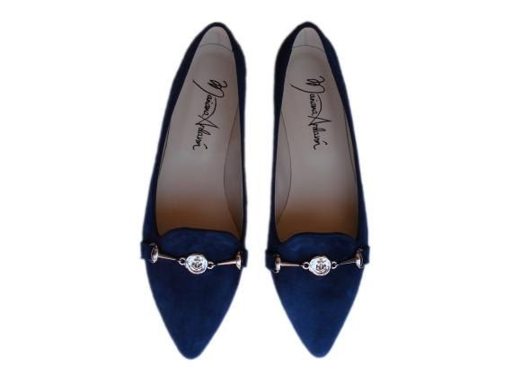 NEW Navy blue suede flats with navy anchor by MarianaArdavinShoes, $106.50