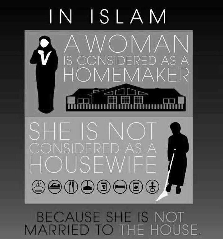 """""""In Islam, a woman is considered as a homemaker. She is not considered as a housewife because she is not married to the house."""""""