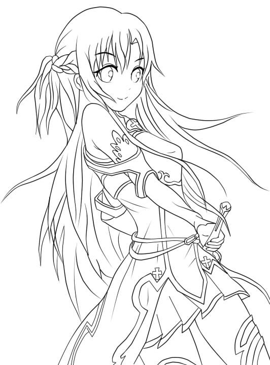 274 best lineart sword art online images on pinterest for Online anime coloring pages