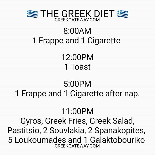 LOL! True story. The Greek Diet (in Greece). #greece #greek #greeks #greekfood #gyros #frappe #souvlaki #tzatziki #pastitsio #yiayia #athens #greekgirl #greeklife #hellas