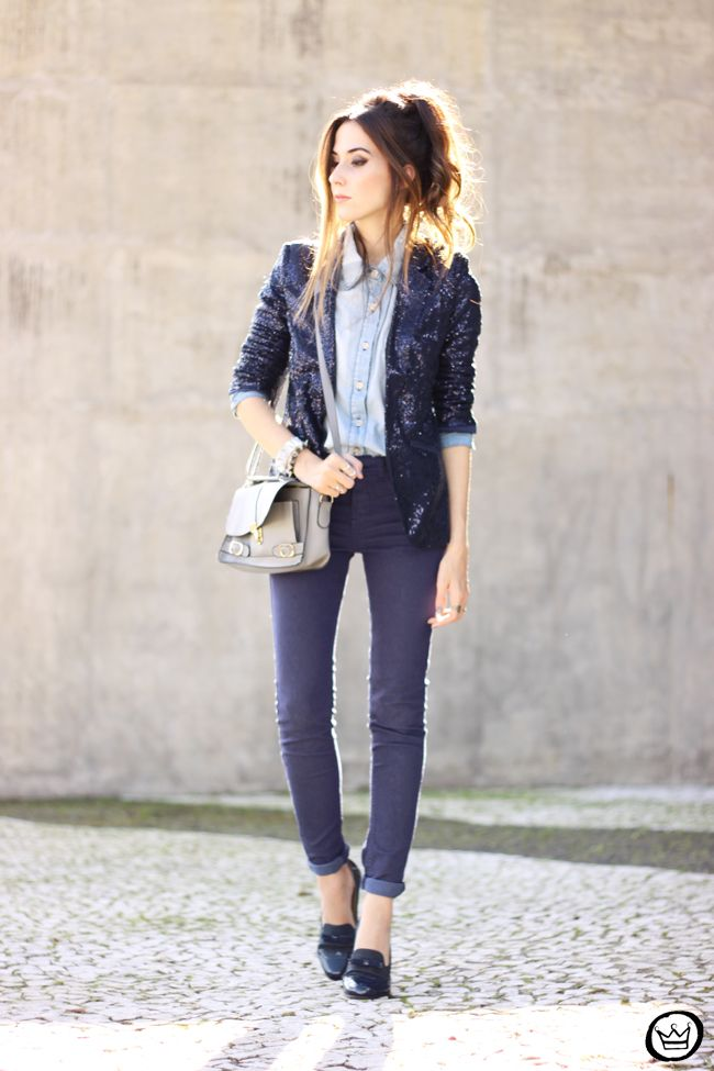 denim pants and shirt with sequined blazer boyish outfit <3