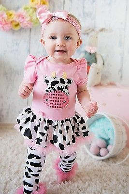Baby Cow Printed Pink Bodysuit Pettiskirt Cowgirl Romper