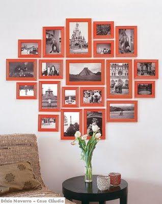 Esse painel de fotos feito com espelhinhos de feira ficou sensacional! Trata-se de uma ideia barata e criativa.