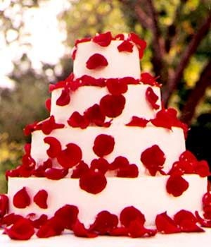 Wedding Cakes Pictures Four Tier Round Red Roses Cake