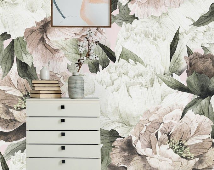 Pink Peony On White Background Removable Wallpaper Peel And Etsy Removable Wallpaper Wall Wallpaper Mural Wallpaper