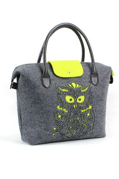 handbag 2013 fall - felt bag, grey green color ,  owl laser cutting picture, 2087 brand, eco friendly material