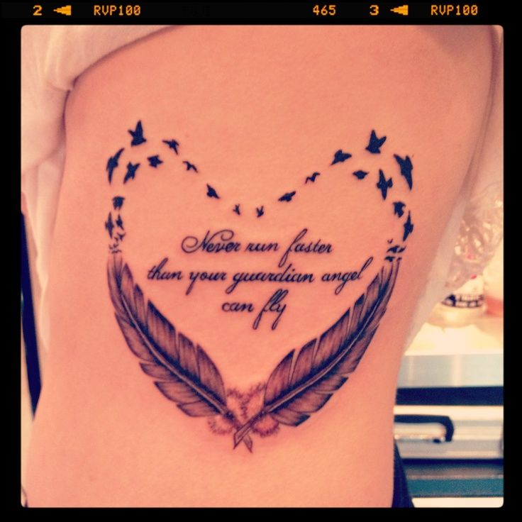 Feather and birds tattoo with quote