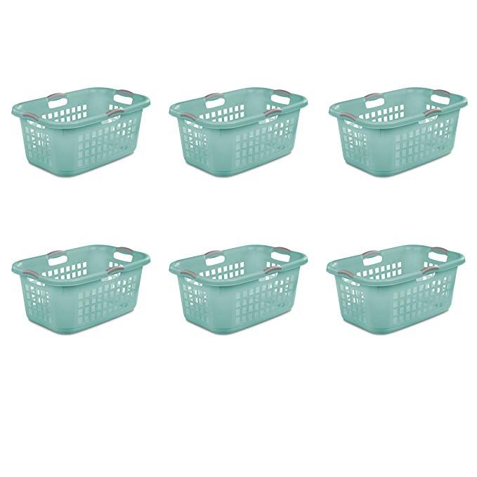 Sterilite 12167906 2 Bushel 71 L Ultra Laundry Basket Aqua Chrome With Titanium Handles 6 Pack Review Laundry
