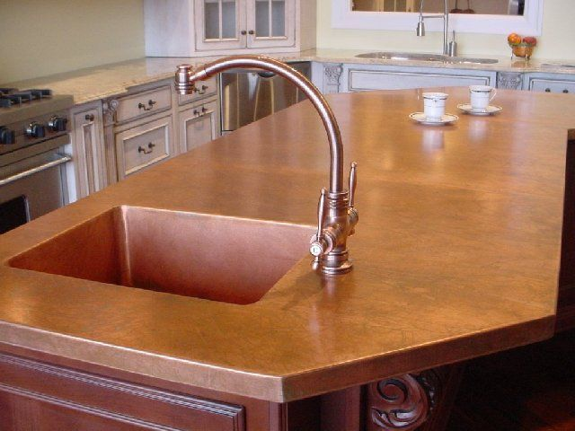 Copper Countertop With Integrated Copper Sink