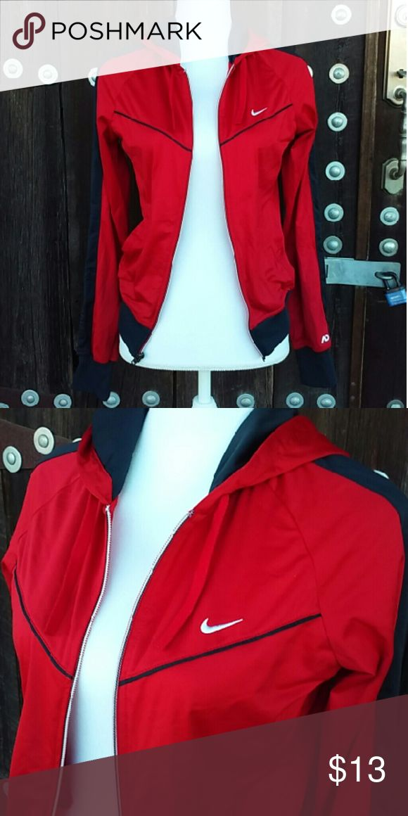 """🚫SOLD!🚫 Women's Nike Red & Black Hooded Jacket 🚫SOLD!🚫 Women's Red & Black Nike Hooded Jacket. Size Small. 100 Percent Polyester. """"The Athletic Dept."""" Nike Jackets & Coats"""
