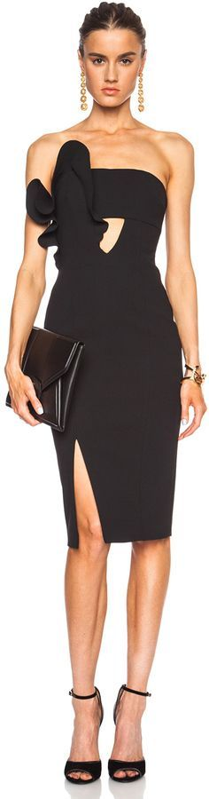 black @roressclothes closet ideas women fashion outfit clothing style apparel NICHOLAS Bonded Poly Crepe Ruffle Dress
