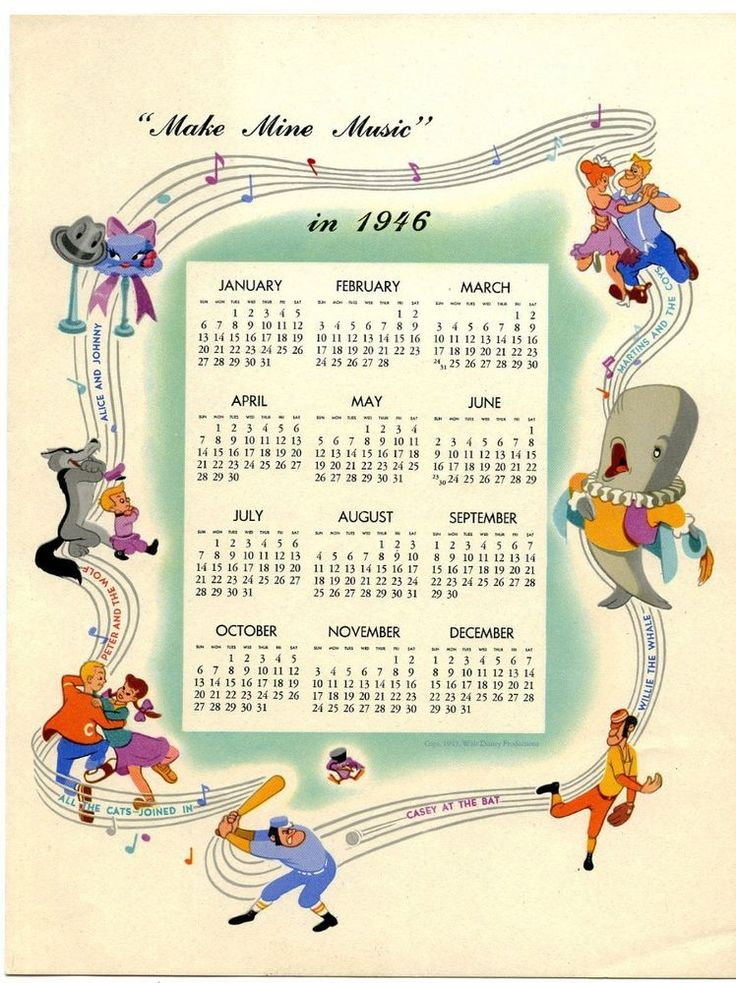 RARE ORIG WALT DISNEY STUDIO VINTAGE 1945 CHRISTMAS X-MAS CARD 1946 CALENDAR  #CHRISTMASCARD
