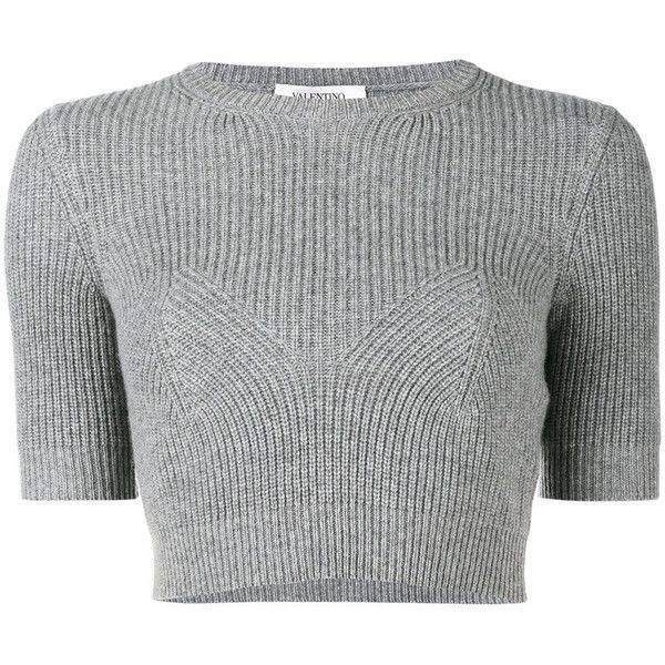 Valentino ribbed knitted crop top ($990) ❤ liked on Polyvore featuring tops, grey, grey ribbed top, crop top, gray top, grey crop top and short sleeve tops