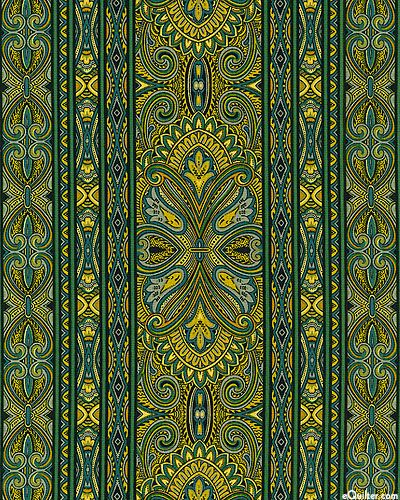 eQuilter Bordering on Brilliance II - Grand Paisley Stripe - Emerald